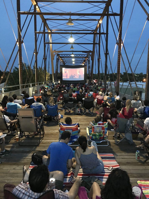 Slab Cinema screens a movie on Hays Street Bridge.