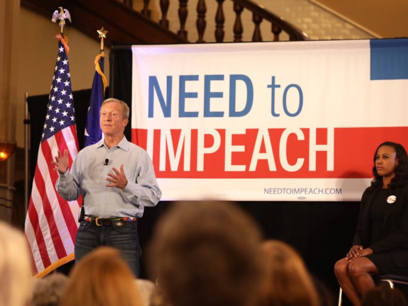 Californian billionaire Tom Steyer (left) – a hedge fund manager, businessman and philanthropist – encourages San Antonians to impeach President Donald Trump.