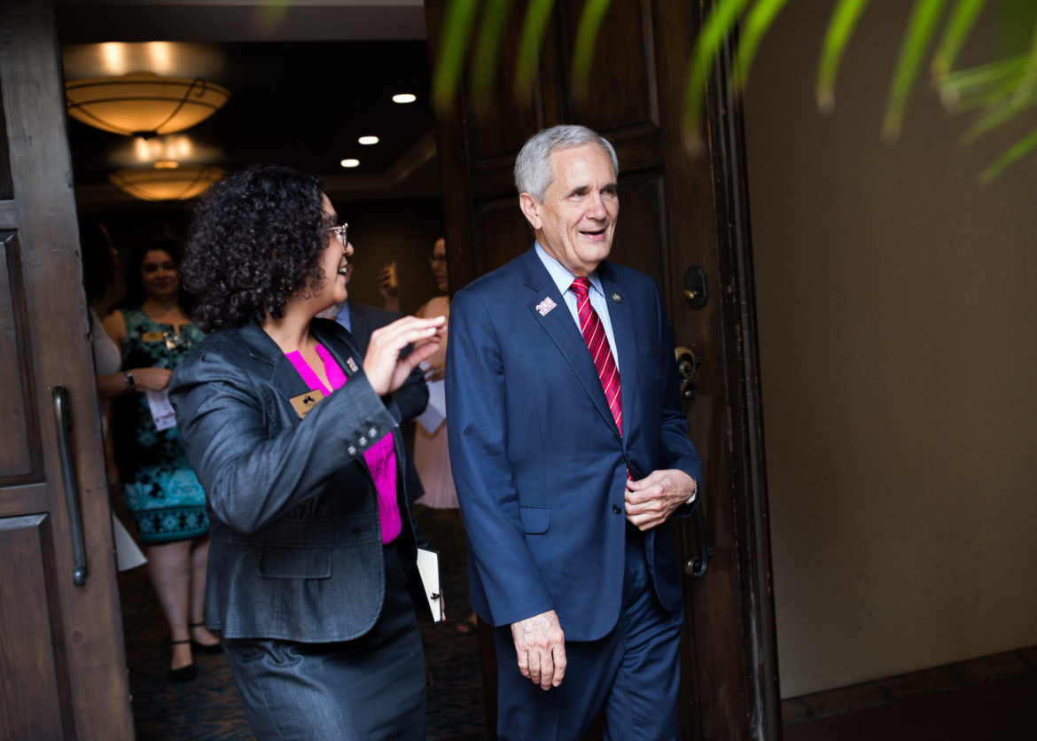 U.S. Rep Lloyd Doggett (D-Texas) arrives to the Marriott Plaza in San Antonio.