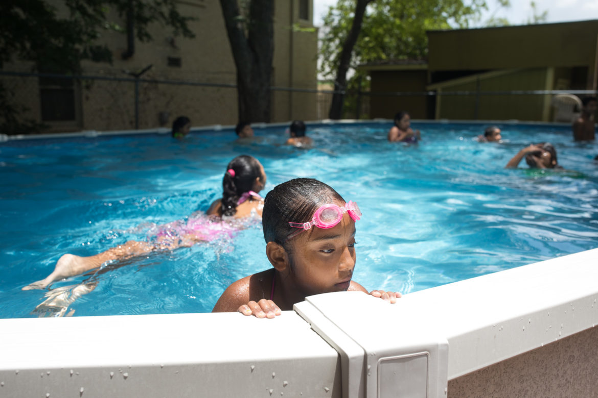 Brieanna, 9, enjoys the swimming pool at Inner City Development.