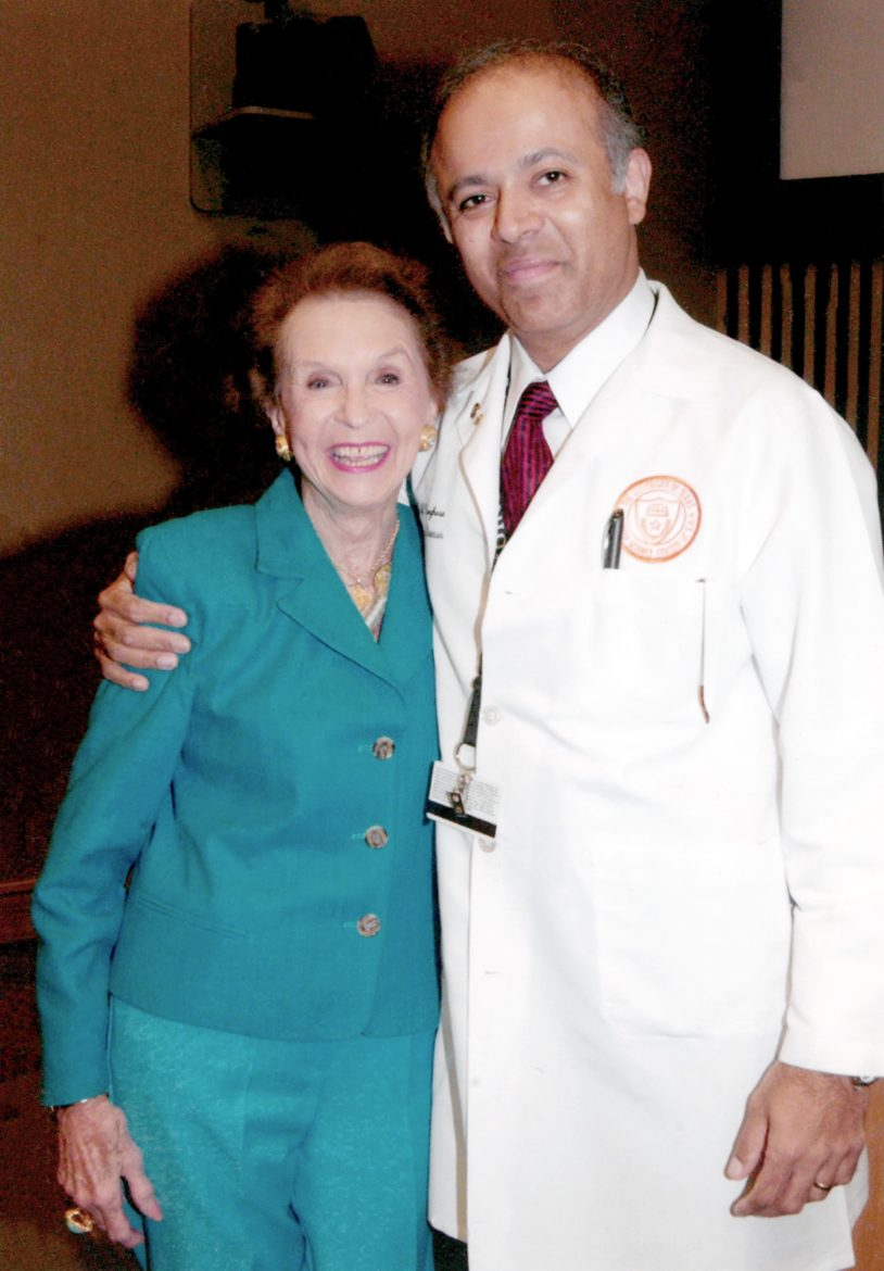 Edith McAllister with Abraham Verghese a best-selling author and founding director of the Center for Medical Humanities and Ethics at the UT Health San Antonio.