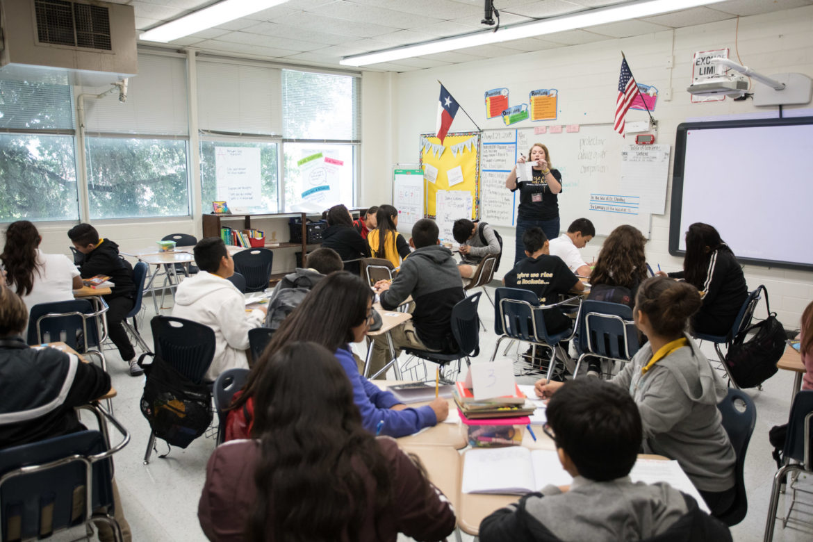 Brentwood Middle School teacher Megan Prado teaches a seventh grade integrated reading and writing course.