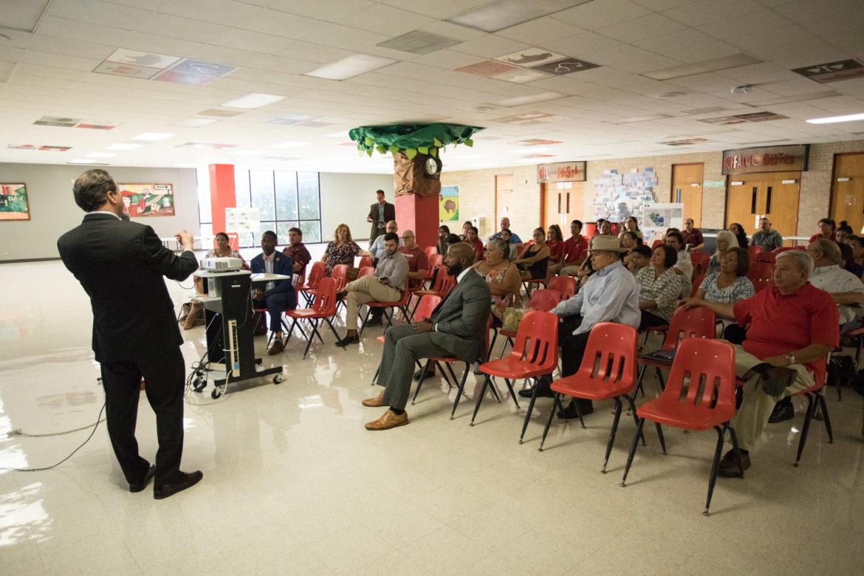 SAISD Superintendent Pedro Martinez presents the master plan for the SAISD central office site layout.
