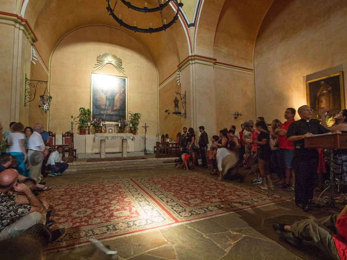 The moment just before the double solar illumination of Aug. 15, 2015 at Mission Concepción.