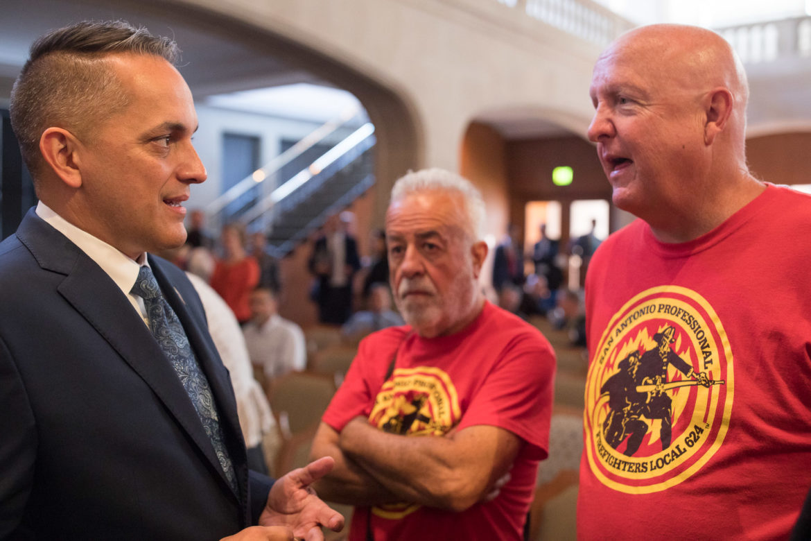 Councilman Greg Brockhouse (D6) speaks with members of the San Antonio Professional Firefighters Association.