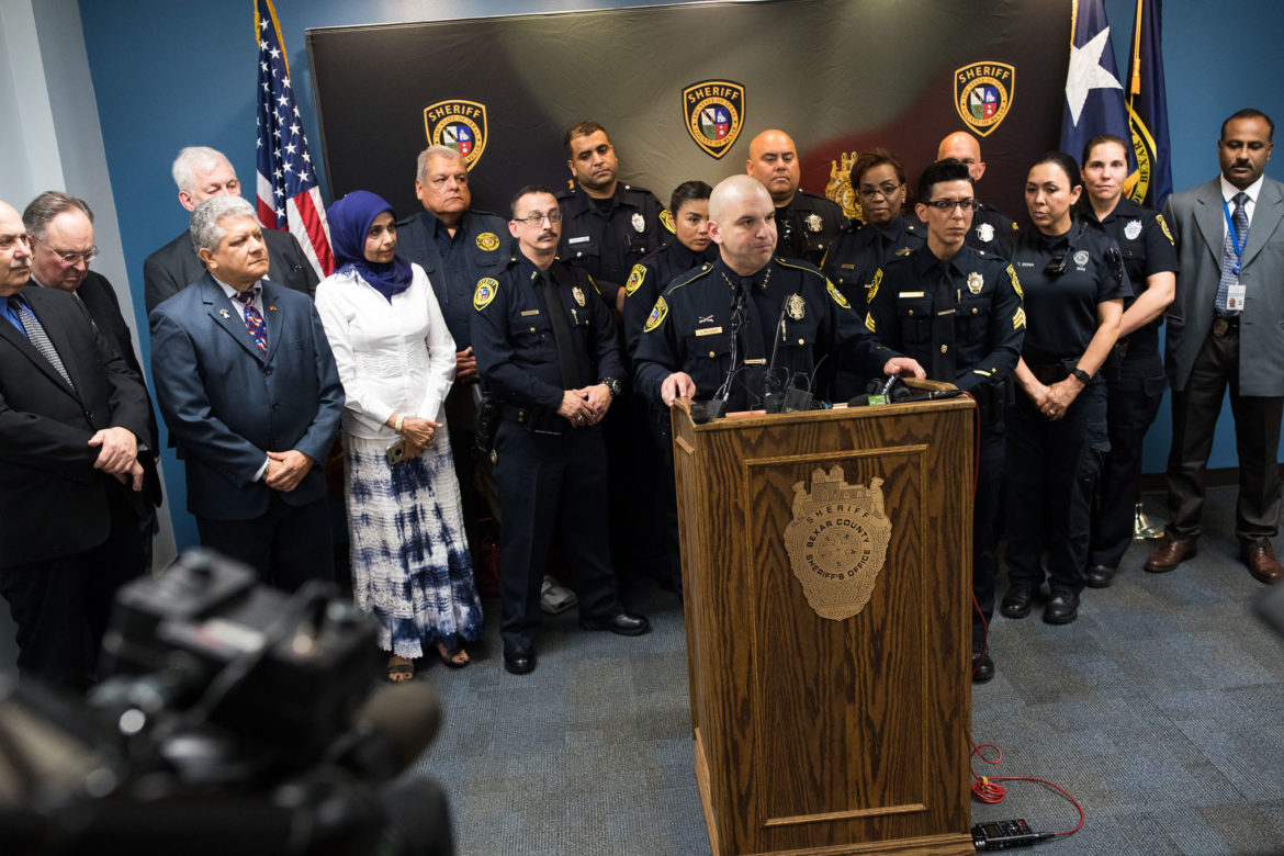 Sheriff Javier Salazar introduces the twelve community liaisons officers to connect the Bexar County Sheriff's Office with a variety of populations.