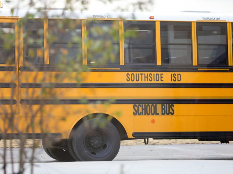 A Southside Independent School District bus leaves the recently constructed Menchaca Early Childhood Center.