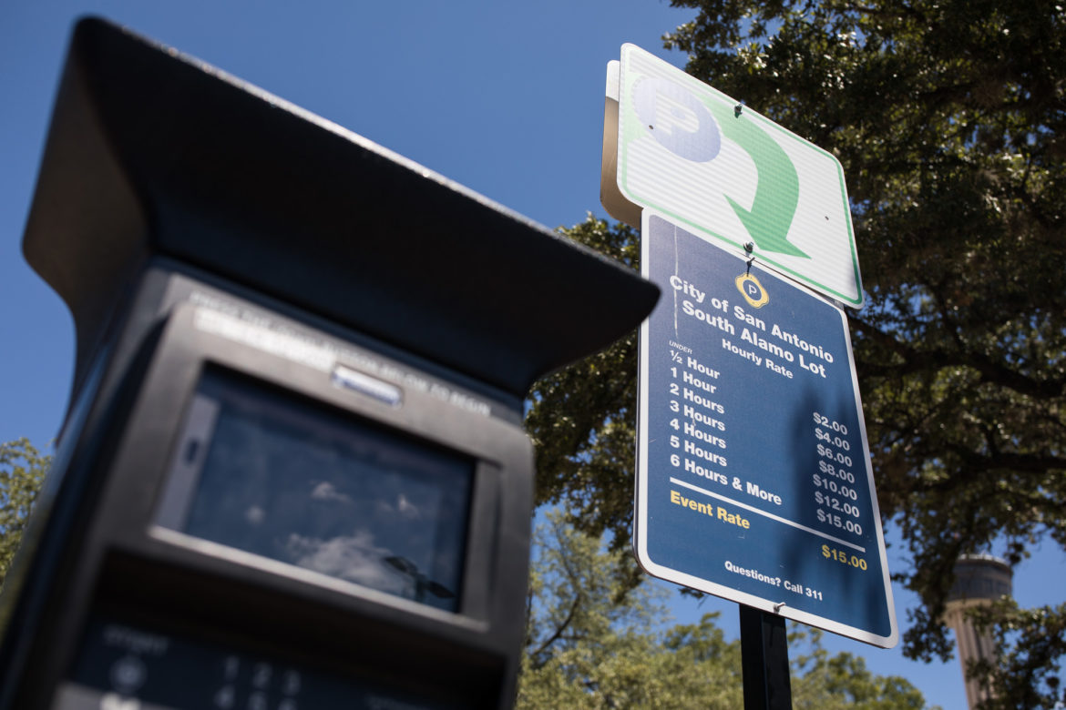 A parking meter at a city owned surface lot serving Hemisfair currently charges $15 for event parking.