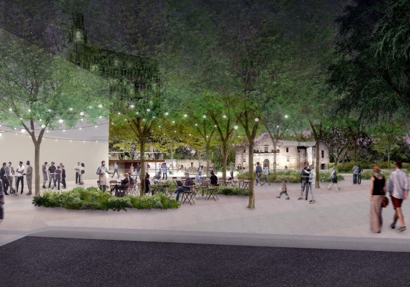 This rendering shows the Alamo Plaza as imagined by master planners.