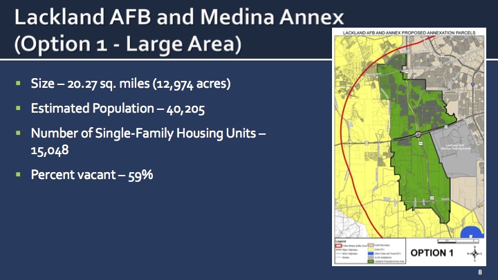 Voters will have the option of annexing areas near Joint Base San San Antonio -Lackland Air Force Base. this November.