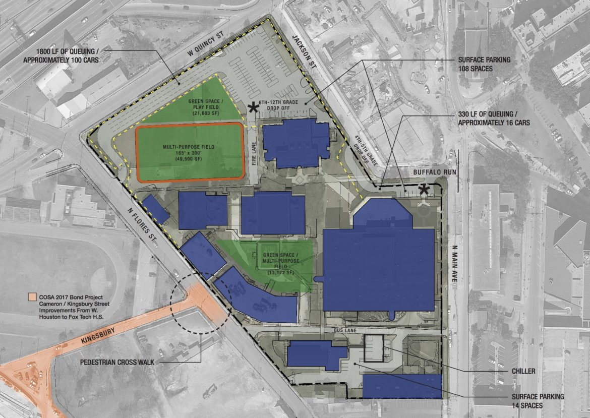 The master plan of the proposed SAISD central office site.