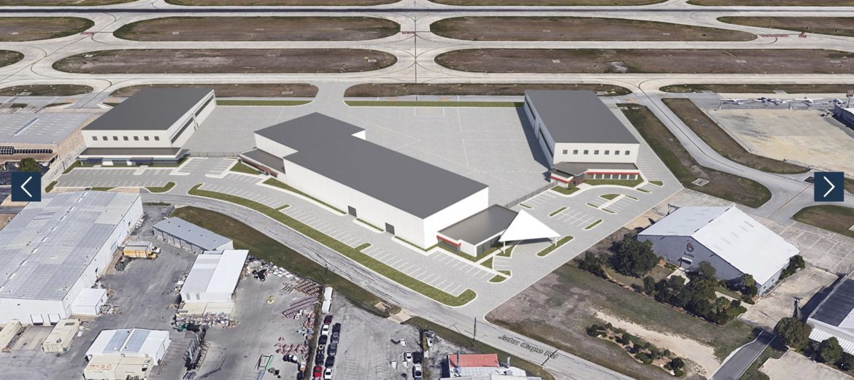 This rendering shows the $25 million multi-hangar redevelopment at the San Antonio International Airport.