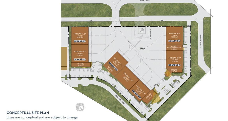 A conceptual site plan of the $25 million multi-hangar redevelopment at the San Antonio International Airport.
