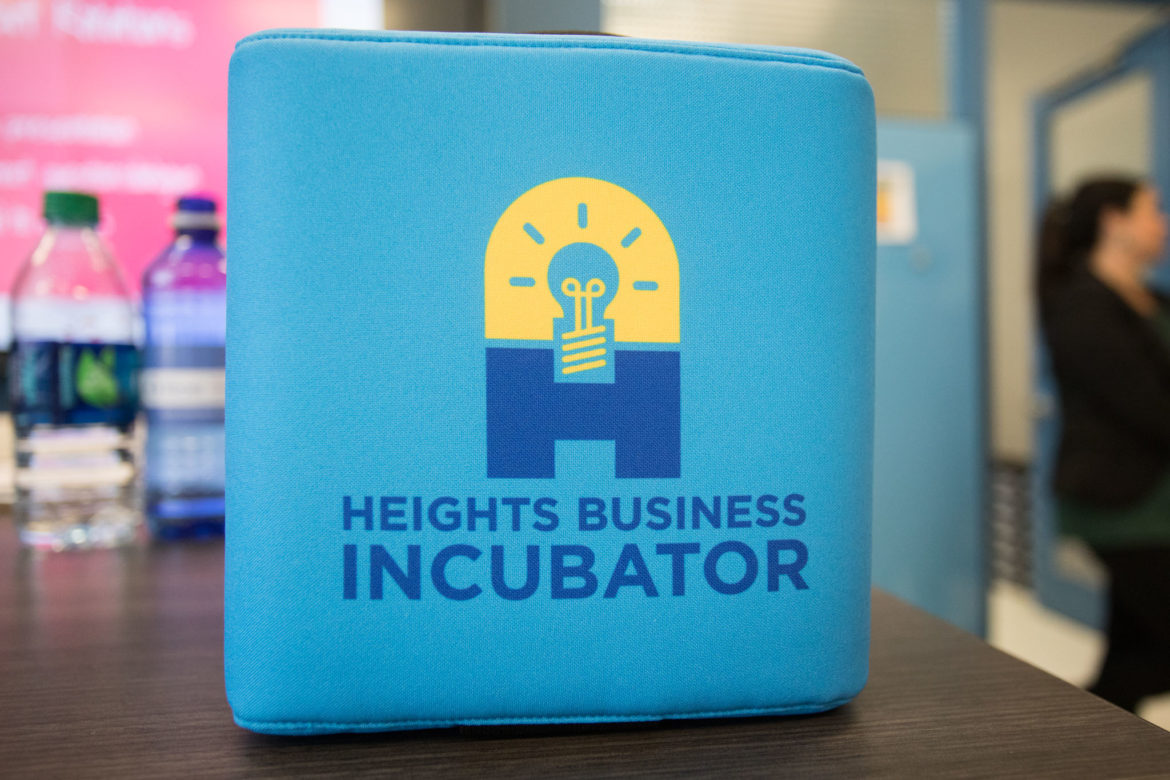 The Heights Business Incubator custom Catchbox allows students to speak into a microphone and then throw it to the next person for their turn.