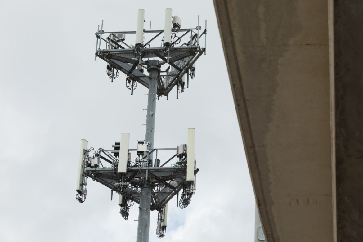 A cell tower along the Joe Webb Bridge provides 4G LTE wireless access to devices within range.