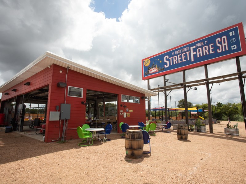 The billboard for StreetFare SA is easily visible along Austin Highway.