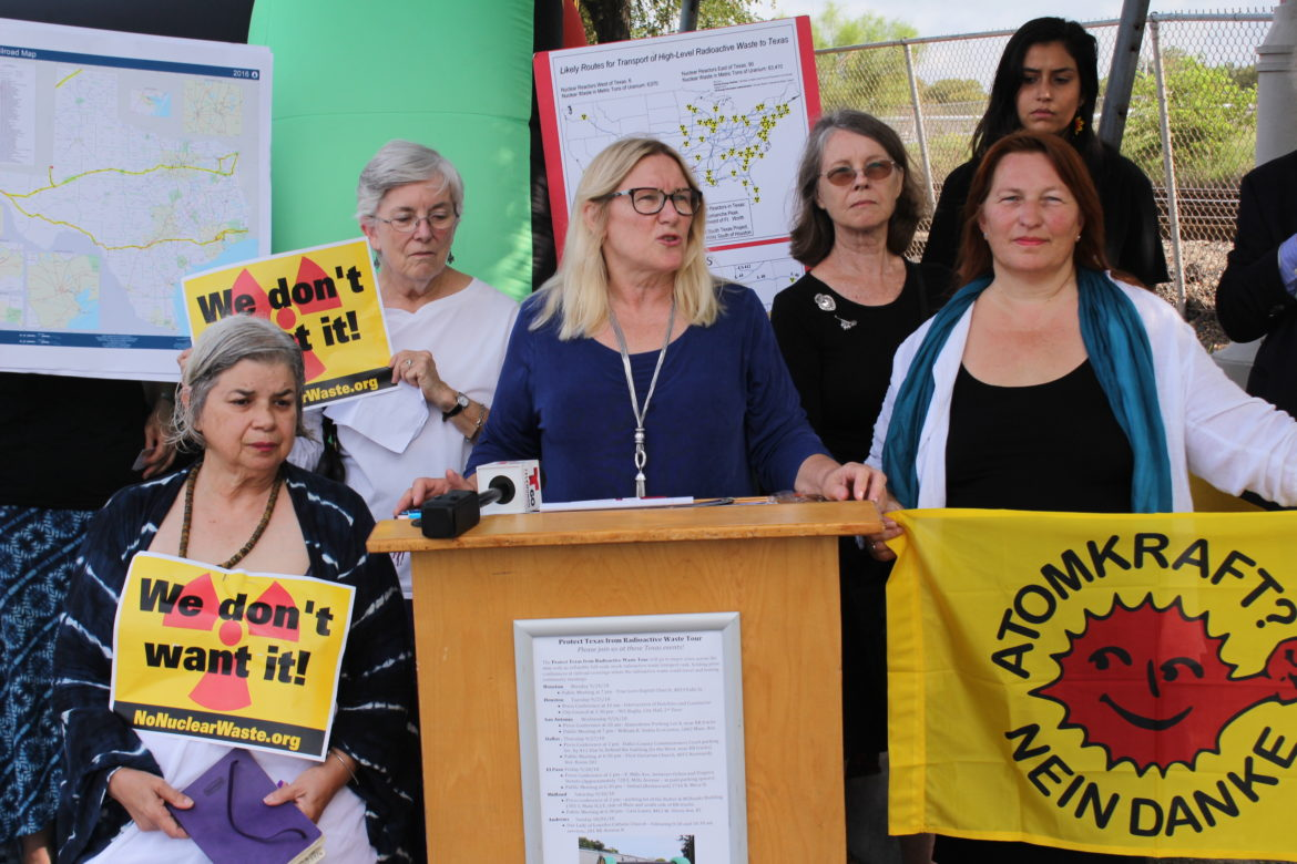 Karen Hadden, director of the Sustainable Energy and Economic Development (SEED) Coalition, speaks as (from left) as Alice Canestaro-Garcia, Meredith McGuire, Margaret Day, Kerstin Rudek, and Yaneth Flores stand beside her.