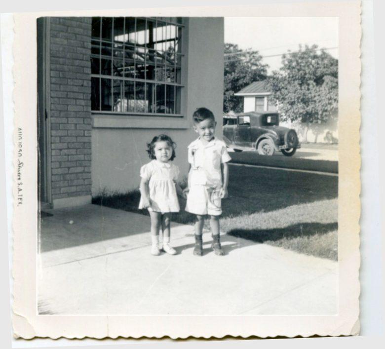 1950 or 1951 Pauline and Henry Cisneros visiting Munguia Printer's shop.