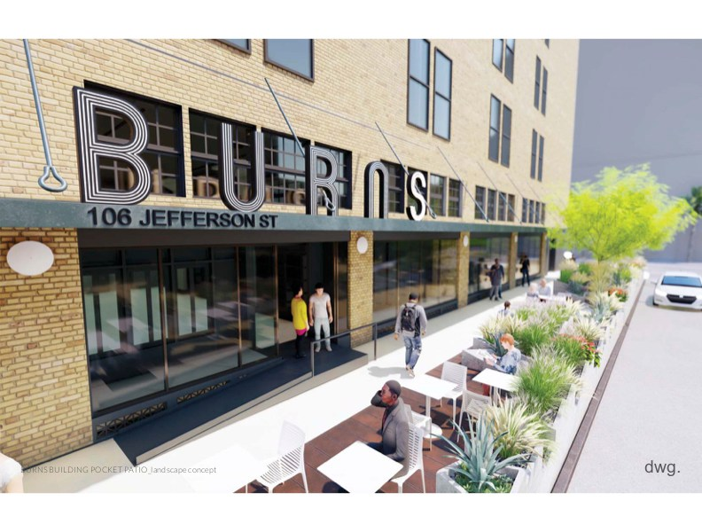 A 'parklet' is being proposed for the Burns building along Jefferson Street.
