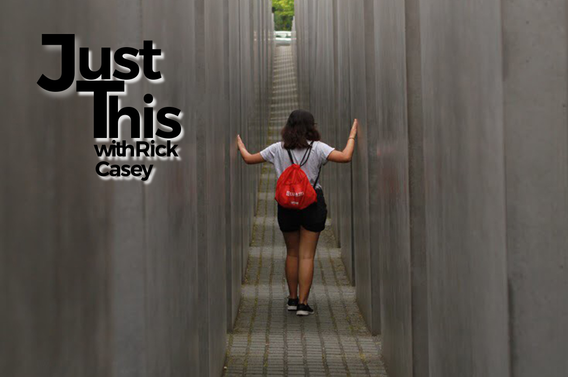 Sofia Fortuno walks through the Memorial to the Murdered Jews of Europe in Berlin, Germany.