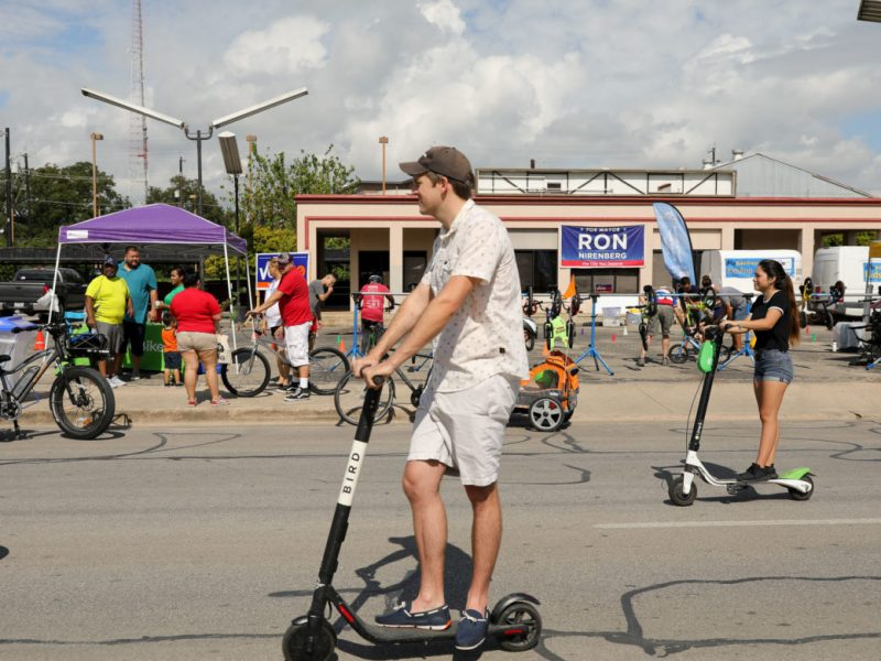 Scooters such as Bird and Lime are used during the first Síclovía since the new mode of transportation has landed in San Antonio.