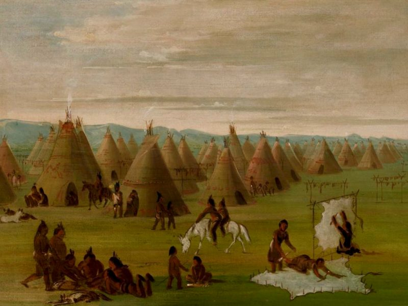 The painting Comanche Village by George Catlin.