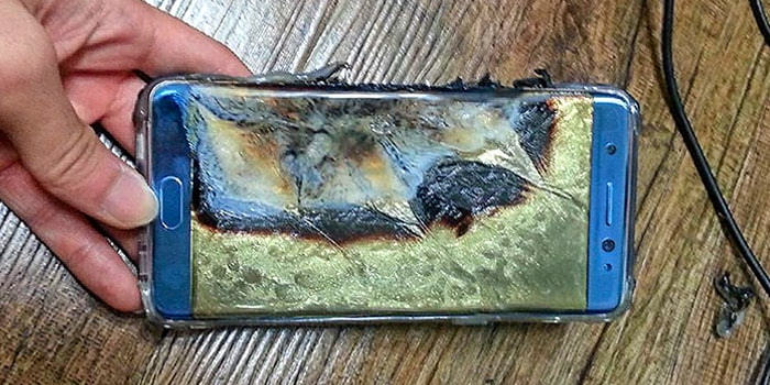 A Samsung Galaxy Note 7 caught on fire and melted.