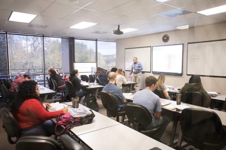 A classroom in Hallmark University.