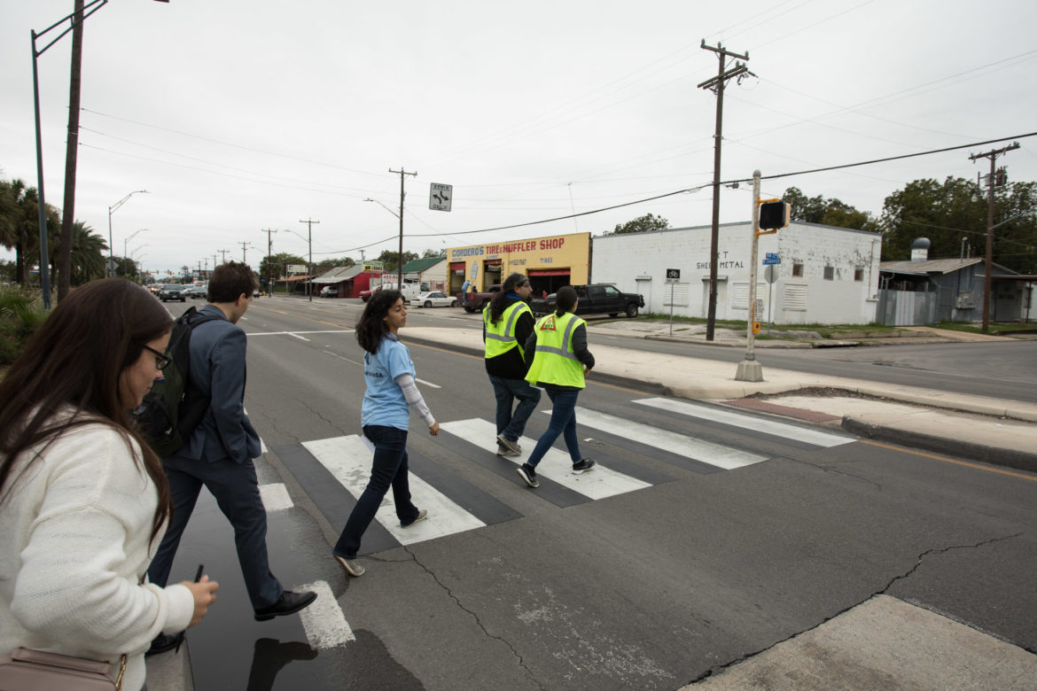 The Westside Development Corporation leads a group on a walking tour of the Westside.
