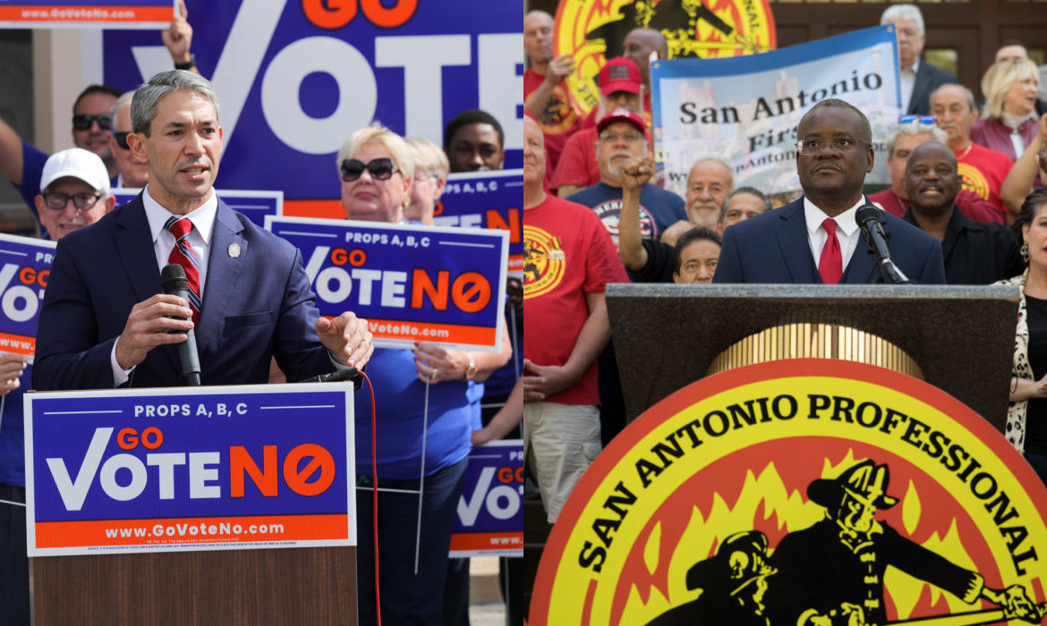 Left: Mayor Ron Nirenberg and the Go Vote No campaign. Right: San Antonio Professional Firefighters Association President Chris Steele and the San Antonio First campaign.