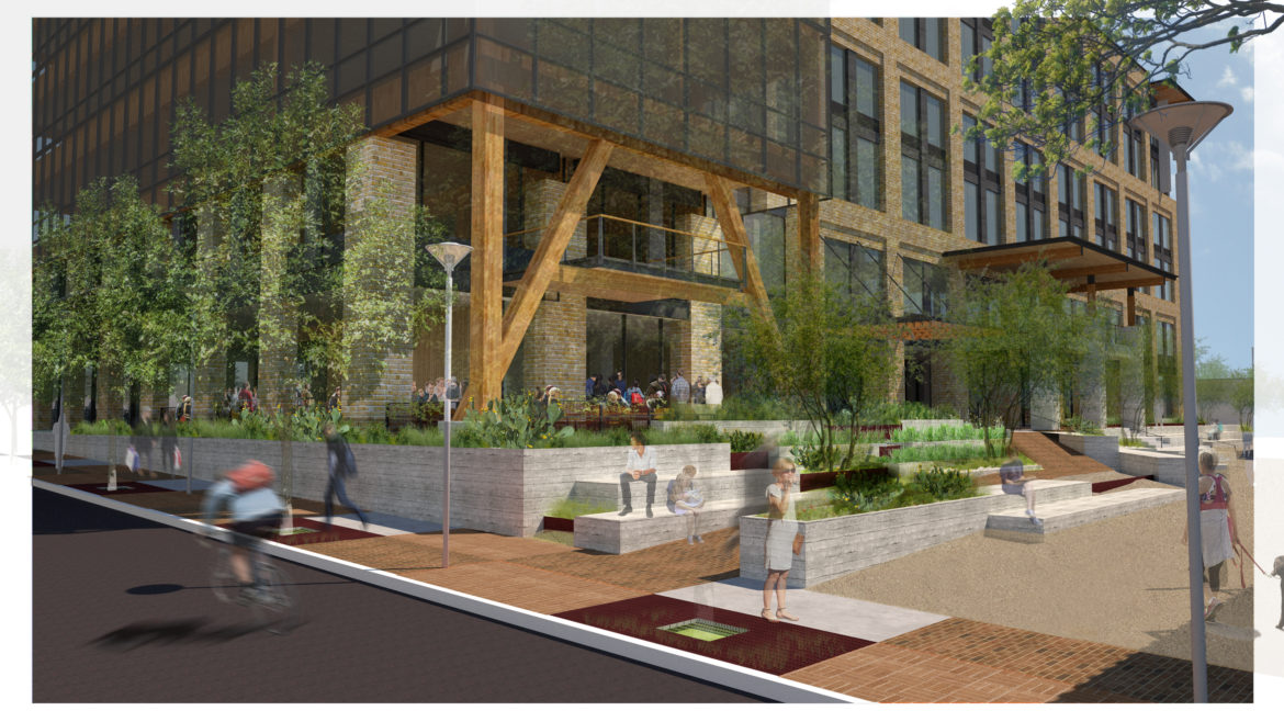 This rendering shows the landscaping of the future Soto building.