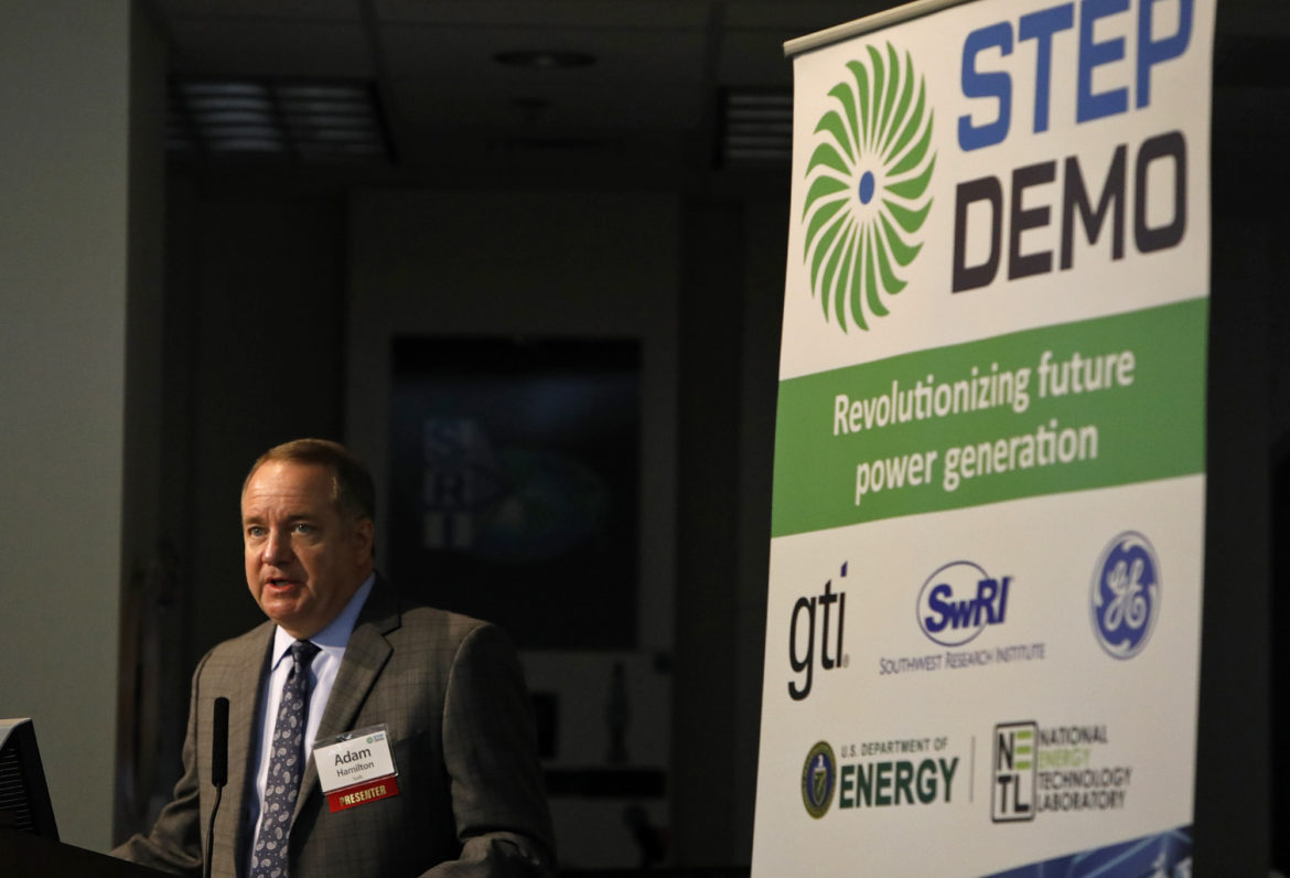 Adam L. Hamilton, P.E., President & CEO, Southwest Research Institute, speaks during a press conference and groundbreaking for the Supercritical Transformational Electric Power (STEP) pilot plant held Monday Oct. 15, 2018 at SwRI.