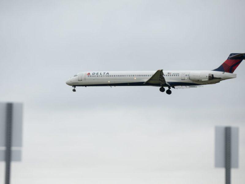 A Delta plane set to land at San Antonio International Airport.