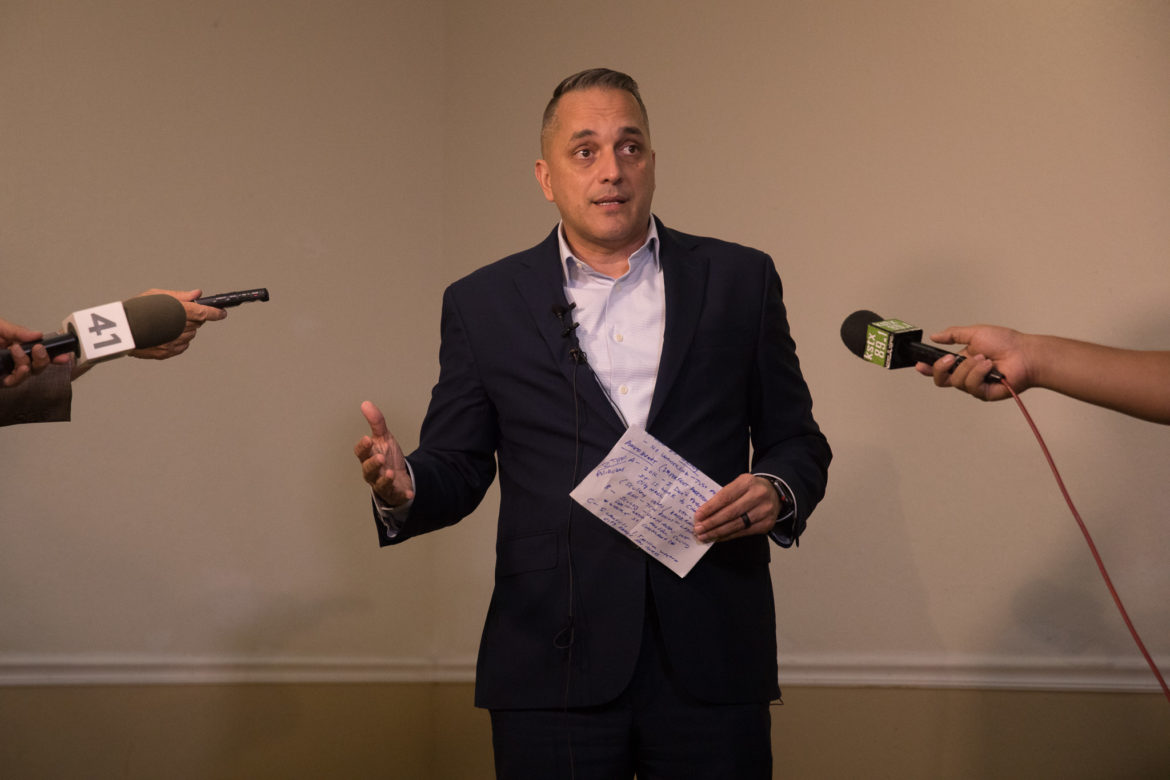 Councilman Greg Brockhouse (D6) speaks to reporters at the San Antonio Professional Firefighter's Banquet Hall in response to leaked audio recordings that call his name out as a potential mayoral candidate.