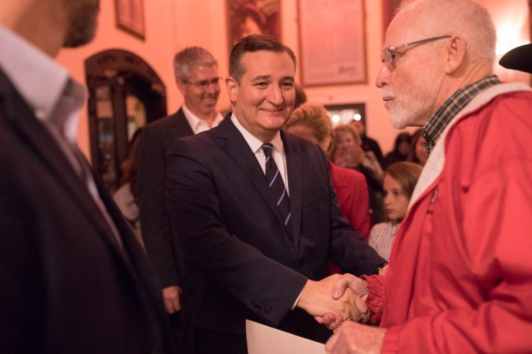 Ted Cruz is greeted by supporters as he arrives to the Old San Francisco Steakhouse.