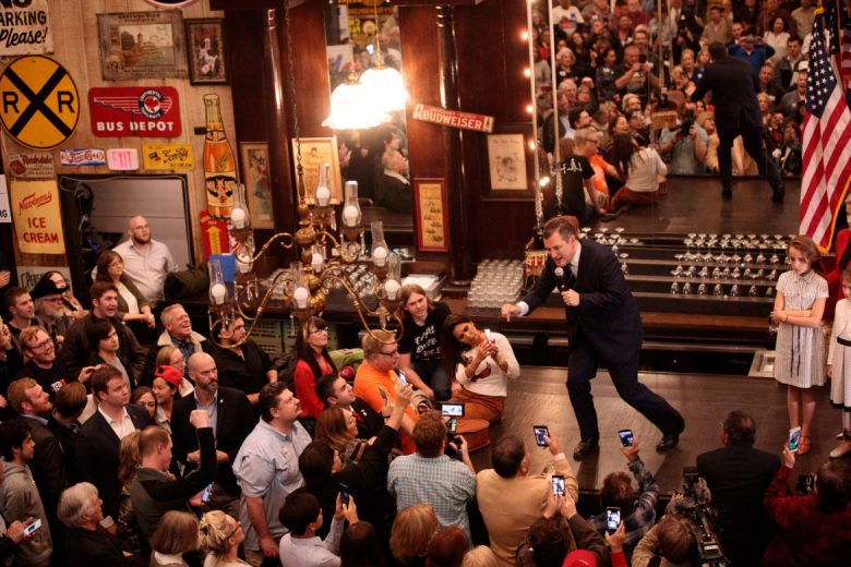 """Ted Cruz yells """"Come and Take It"""" as he engages his supporters following a debate against opponent Beto O'Rourke Tuesday night."""