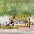 This rendering shows the Alamo Plaza looking East.