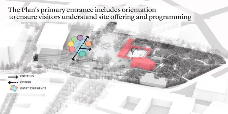 This rendering shows the primary entrance to the portion of the plaza directly in front of the Alamo. When the Alamo museum is closed at night, five more access points will open.