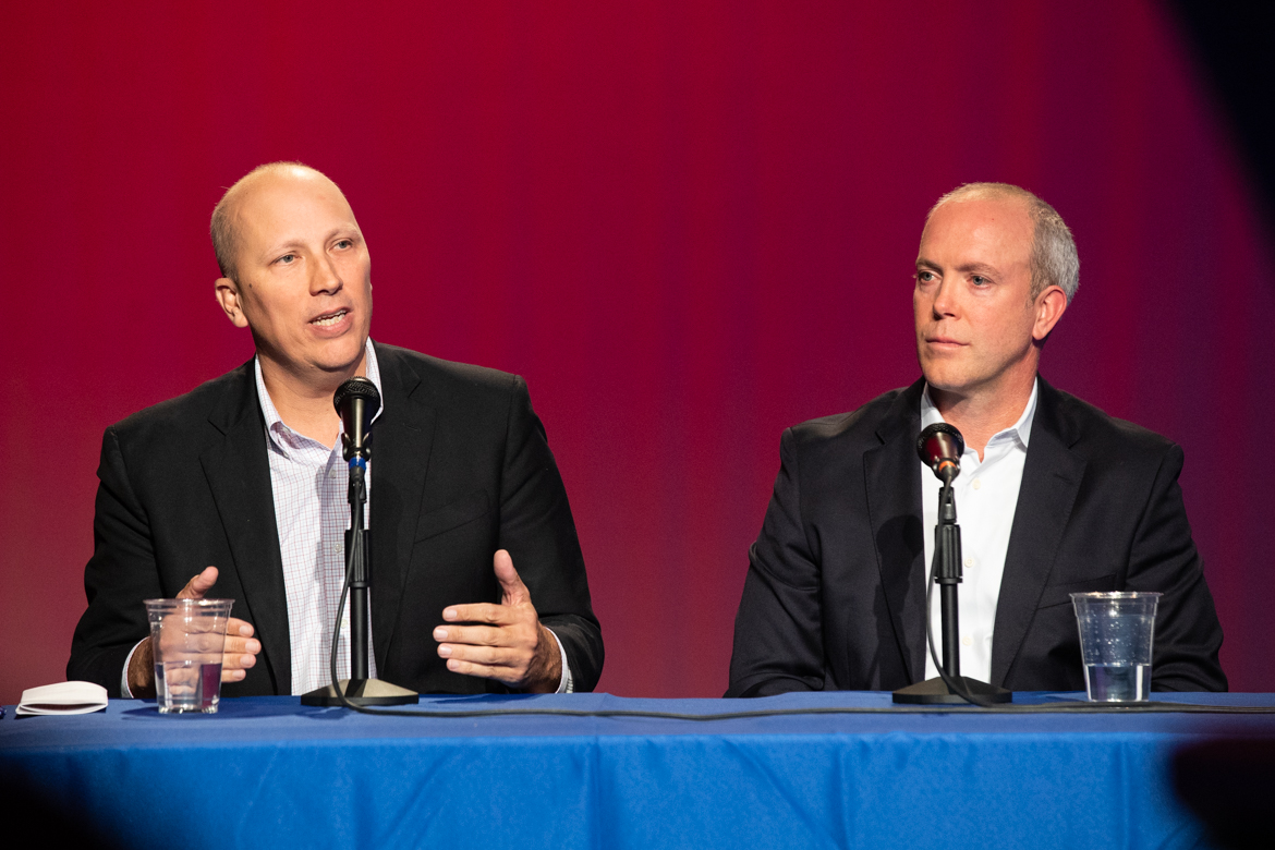 (From left) Candidates for House Seat District 21 Chip Roy and Joseph Kopser.