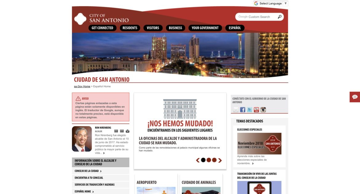 The City of San Antonio launched its new website in Spanish.
