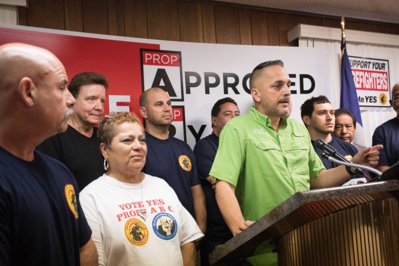 Councilman Greg Brockhouse (D6) speaks on behalf of the San Antonio Professional Firefighters Association.