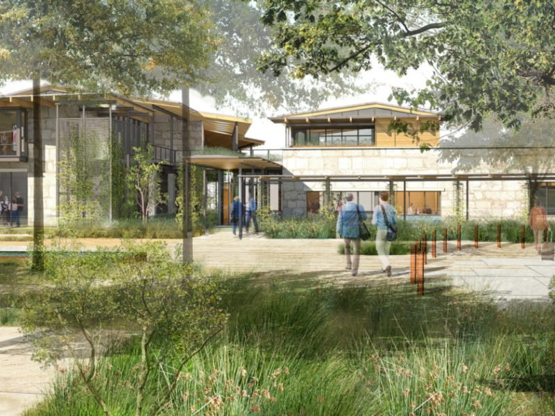 An exterior rendering of the Learning Center at Holdsworth.