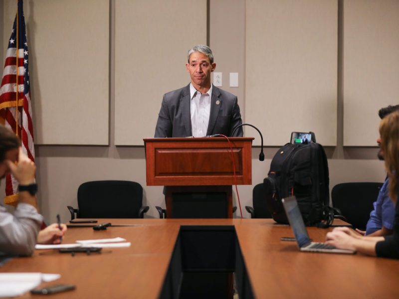 Mayor Ron Nirenberg hosts a press conference after two of the three proposed charter amendments were approved by voters.