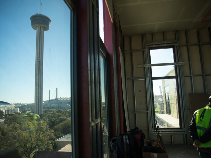 The Tower of the Americas can be seen with a fresh perspective from many of the units at the '68 at Hemisfair.
