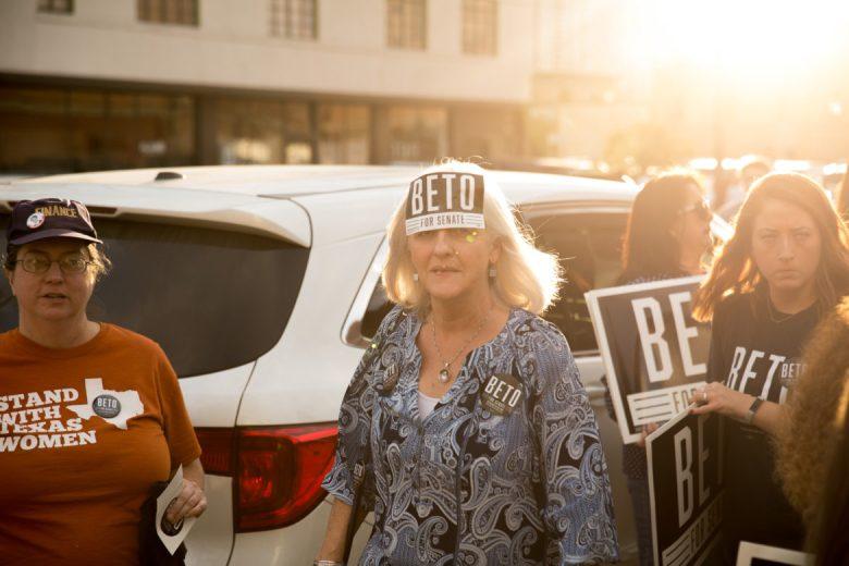 Melissa Watkins wears a sticker in support of US Senate candidate Beto O'Rourke.