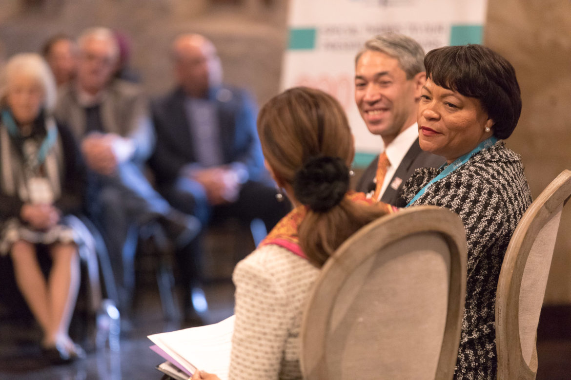 Mayor of New Orleans Mayor LaToya Cantrell and San Antonio Mayor Ron Nirenberg participate in the panel A Tale of Two Tricentennials: How San Antonio and New Orleans Celebrated 300 Years, and How History Is Turned in Momentum