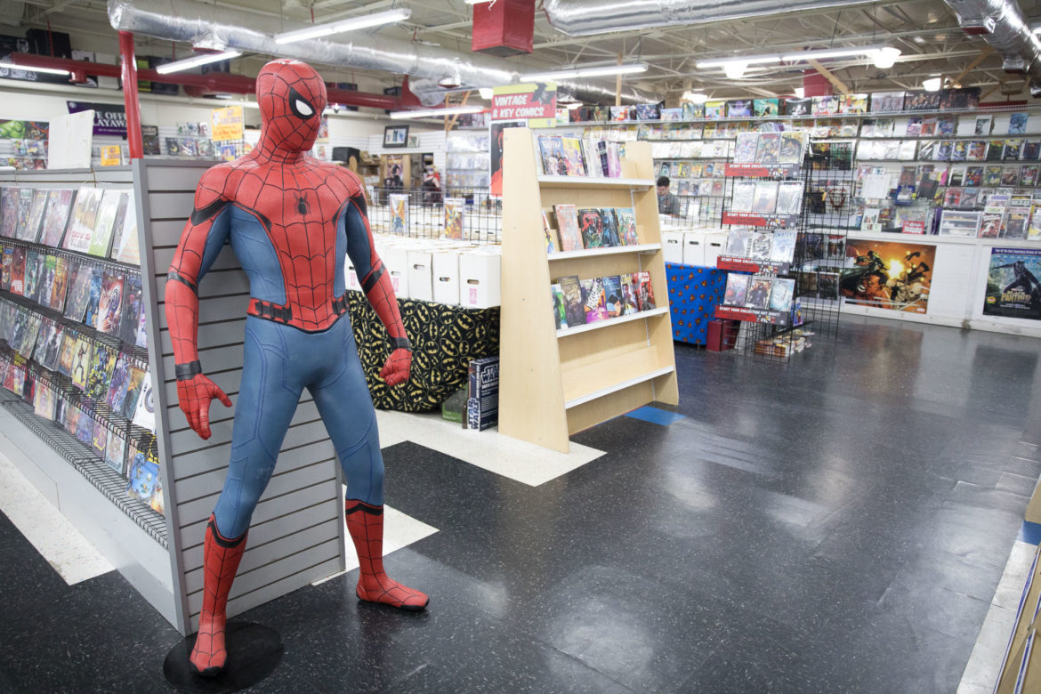 Spiderman, which was created in collaboration with Stan Lee, is a prominent feature at Heroes & Fantasies.