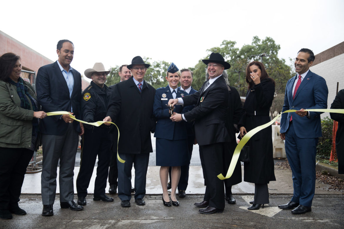 Public officials cut the ribbon for the Military and Veterans Services Center on Veterans Day.