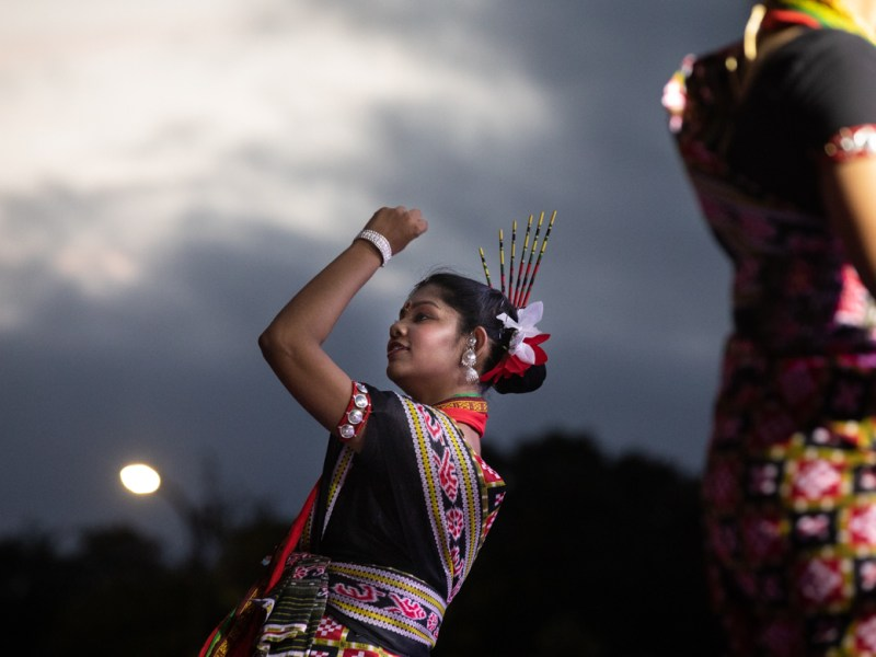 Dancers from the Odissi Academy in Houston perform on stage at Diwali.