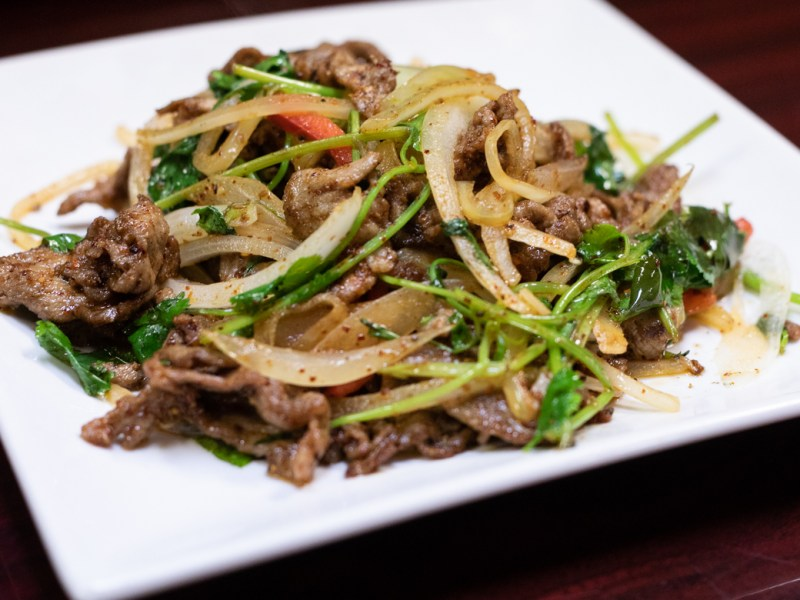 Spicy lamb with cumin.